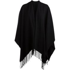PIECES Open Cape ($31) ❤ liked on Polyvore featuring outerwear, jackets, black, casacos, cardigans, black cape, fringed cape, black cape coat and cape coat