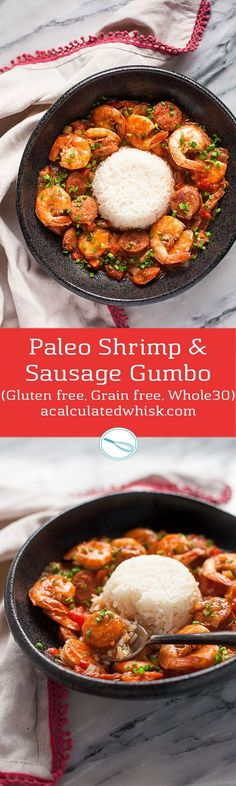 Paleo Shrimp & Sausage Gumbo (Gluten free, Grain free, Whole30) from the Big 15 Paleo Cookbook