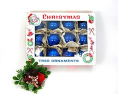Vintage Blue Round Christmas Tree Ornaments by AtticDustAntiques