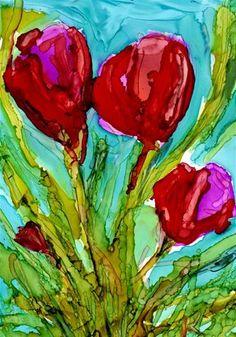 """""""tulip trio"""" - Original Fine Art for Sale - © Kristen Dukat"""