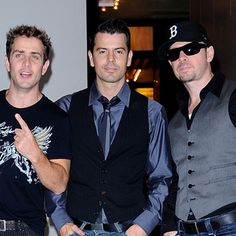 Joey McIntyre, Jordan Knight, and Donnie Wahlberg of New Kids On The Block