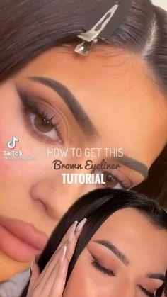 Makeup Tutorial Eyeliner, Makeup Looks Tutorial, Eyebrow Makeup, Skin Makeup, Cat Eye Tutorial, Make Up Tutorial, Eye Makeup Steps, Makeup Eye Looks, Natural Eye Makeup