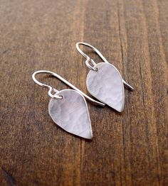 Small Hammered Silver Leaf Earrings. Last minute gift idea:)