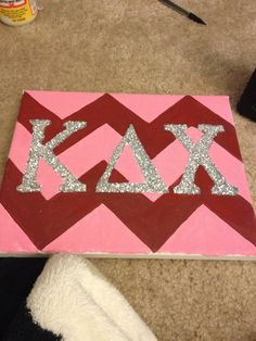 Kappa Delta Chi Pink and Maroon Chevron Canvas