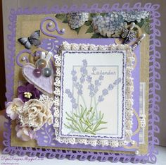 Rubber Stamp Lavender Card with Lace and Felt Heart Motif Heartfelt Creations Cards, Paper Place, Shabby Chic Cards, Step Cards, Card Making Tutorials, Flower Cards, Homemade Cards, Creative Inspiration, Cardmaking