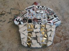 Naughty cupcake, mosaic cupcake, mosaic art.