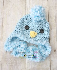 Newborn-3m size Easter boy hat, Baby Chick Bird hat, Bluebird fuzzy earflap hat baby girl newborn size spring Easter style photography prop
