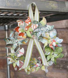 Pinwheel wreath by Scrappy Betties