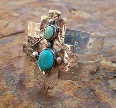 Sterling Santa Fe Cross Cuff with  Sleeping Beauty Turquoise
