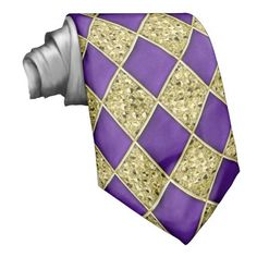Purple Diamond Gold Sequins Pattern Mardi Gras Tie