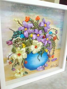 Ribbon embroidery and painting