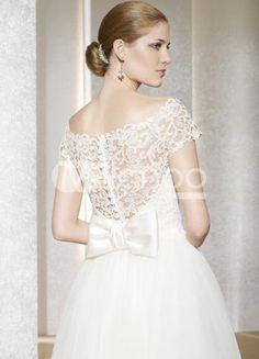 Lace overlay A-line Lace Tea Length Wedding Dress