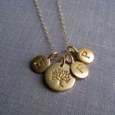 Personalized family tree necklace gold family by thejewelrybar, $72.00