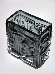 Glass vase made by Josef Schott for Smalandshyttan, Sweden, circa - Work In Sweden, Cast Glass, Pottery Marks, Retro Art, Glass Design, The Collector, Glass Art, Contemporary Art, Decorative Boxes