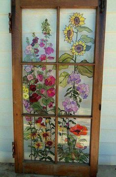 Painted flower glass door