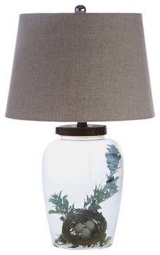 Fillable Glass Table Lamp with Shade - eclectic - table lamps - atlanta - Iron Accents