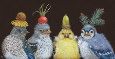First Birthday Party Vicki Sawyer - Archives Wow Art, Whimsical Art, Bird Art, Beautiful Birds, Pet Portraits, Illustration Art, Animal Illustrations, Illustrations Posters, Cute Pictures
