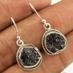 Natural BLACK TOURMALINE Gemstones Amazing Earrings 925 Sterling Silver Jewelry #Unbranded #DropDangle