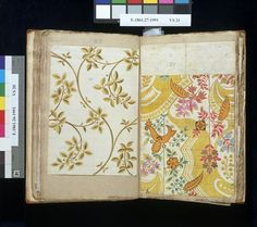 The design on the left, in two shades of green, depicts foliage and berries like unripe wild cherry. This design is dated February 1st 1711/...