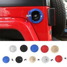 Únicos más nuevos Diseños De Aluminio Negro casquillo de Gas Auto Tapón Del Depósito de Combustible Cubierta De La Puerta Cubierta de la Cerradura de Bloqueo para Jeep Wrangler 11 up