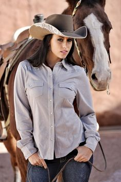 Cowgirl Tuff Button Up Shirt. Love the lace detail on the cowboy hat! Cowgirl Sexy, Cowgirl Hats, Cowgirl Outfits, Cowgirl Style, Cowgirl Tuff, Hot Country Girls, Country Girls Outfits, Country Women, Cow Girl