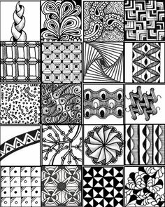 Zentangle Patterns for Beginners Sheets - Bing Images Doodles Zentangles, Tangle Doodle, Tangle Art, Zentangle Drawings, Zen Doodle, Doodle Drawings, Doodle Art, Mandala Pattern, Mandala Design