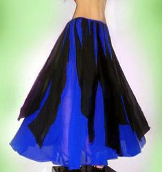 Ameynra Belly Dance SKIRT, Maxi, Blue Black - Red Black - Pink Black, Chiffon, Sizes S M L New