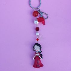 Keychains japonese red in fimo polymer clay by Artmary2 on Etsy