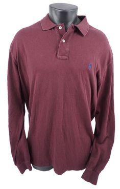671fa474 Polo Ralph Lauren Long Sleeve Polo Rugby Style Maroon Shirt Men's Adult Sz  XL