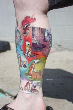 Calvin and Hobbes tattoos. Calvin And Hobbes Tattoo, Best Calvin And Hobbes, Bad Tattoos, Body Art Tattoos, Sleeve Tattoos, Worst Tattoos, Color Tattoos, Tatoos, Tattoo Foto