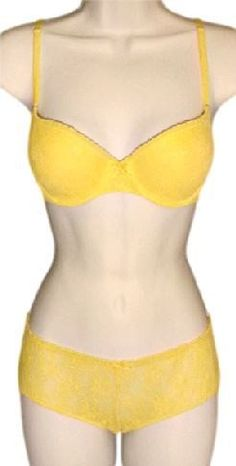 26.00$  Buy here - http://viawf.justgood.pw/vig/item.php?t=z40tkx15746 - VICTORIAS SECRET Vintage Floral Mesh Lace Seamless Lined Demi Bra Set Yellow 34C 26.00$