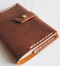 Brown Leather Notebook Cover by Stock Barrel on Scoutmob Shoppe-SR Leather Book Covers, Leather Books, Leather Notebook, Leather Journal, Leather Cover, Leather Wallet, Leather Bag, Brown Leather, Leather Projects