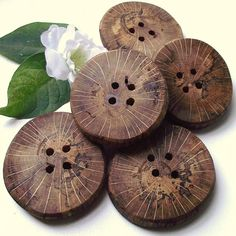 Wood Buttons  5 Spalted Oak Wooden Tree Branch by ARemarkYouMade