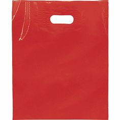"""Red Low Density Patch Handle Bags, 12 x 15""""  1000/ $125"""