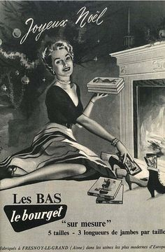 the 1951 Le bourget nylon stockings ad by april-mo Vintage Cards, Vintage Signs, Vintage Images, Vintage Photographs, Vintage Postcards, Ghost Of Christmas Past, Christmas Ad, Xmas, Christmas Graphics
