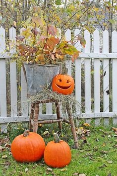 Autumn ~ Create a vignette with old chair, weathered bucket filled with foliage and a pumpkin trio! Wooden Pumpkins, Fall Pumpkins, Halloween Pumpkins, Halloween Decorations, Halloween Items, Halloween Season, Holidays Halloween, Halloween 2017, Autumn Decorating