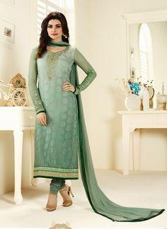 Baronial Green georgette party wear salwar kameez
