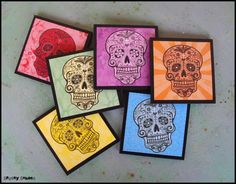 Rainbow Sugar Skulls coasters - set of 6 wooden coasters - calaveras, Day of the Dead, skull housewares, skull gifts, multicolor, boho,party