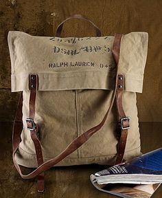 I love this rustic canvas bag look - not sure why. Maybe because it looks like something found from 60 years ago...