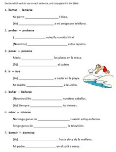 Spanish Worksheets Printables | reflexive verbs worksheets spanish free from PrintableSpanish.com