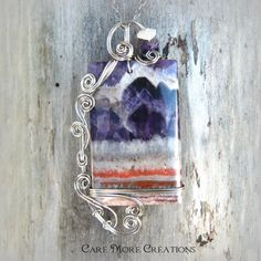 PURPLE MOUNTAINS MAJESTY~ Amethyst Wire Wrapped Pendant Necklace with Mountain Scene by CareMoreCreations.com, $84.00