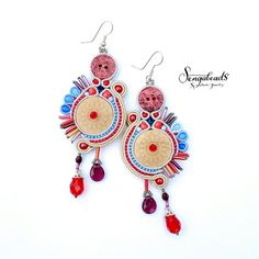 Soutache earrings with one-of-a-kind wooden buttons by Sengabeads