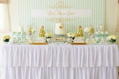 Mint & Gold Sweet Table by Wunderkind Celebrations