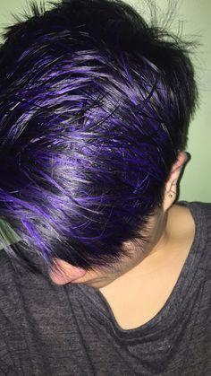 Purple highlights purple hair purple pixie cut - All For Hair Color Balayage Purple Pixie Cut, Short Purple Hair, Brown Ombre Hair, Black Hair, Men Hair Color, Hair Color Purple, Dark Purple, Short Haircut, Pixie Haircut