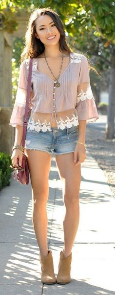 Blush Romantic Pleated Lace Insert Button Down + Denim Shorts