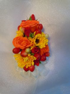 orange sweetheart roses, mini yellow sunflower mums, red sweetheart roses, red hypericum berries Designed By: hillside-consultants.com Sunflower Corsage, Rose Corsage, Prom Flowers, Wedding Flowers, Prom Ideas, Wedding Ideas, Wrist Corsage Wedding, Mini Sunflowers, Fall Mums