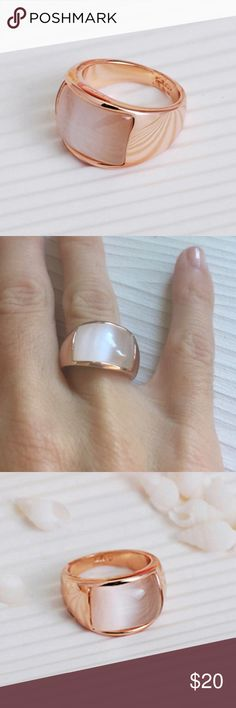 ✨Rose Gold & Opal Crystal Ring✨ Gorgeous, sleek, and chic rose gold ring with opal crystal detail! Chunky rose gold with sleek curved lines, beautiful opal colored crystal in center. Such a lovely addition to any outfit! Brand new from manufacturer❤️ Jewelry Rings