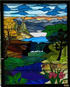 river scene stained glass pattern