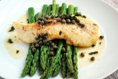 Halibut Picatta with Asparagus Recipe Main Dishes with halibut fillets, extra-virgin olive oil, unsalted butter, garlic, dry white wine, capers, flat leaf parsley, lemon zest, kosher salt, ground black pepper, fresh asparagus
