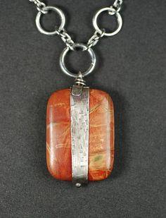 idea of stamped metal wrapped stone pendants  Wrapped Jasper Pendants